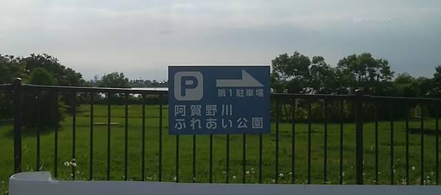 阿賀野川ふれあい公園の第1駐車場への降り口にある看板
