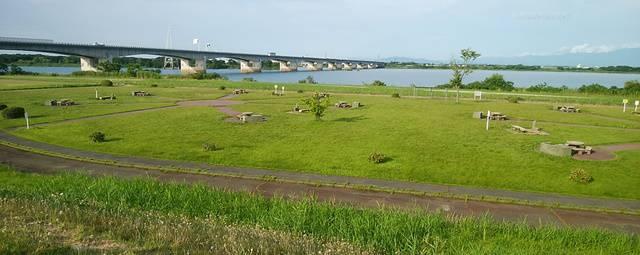 阿賀野川河川公園のバーベキュー場を少し高い位置から俯瞰した様子
